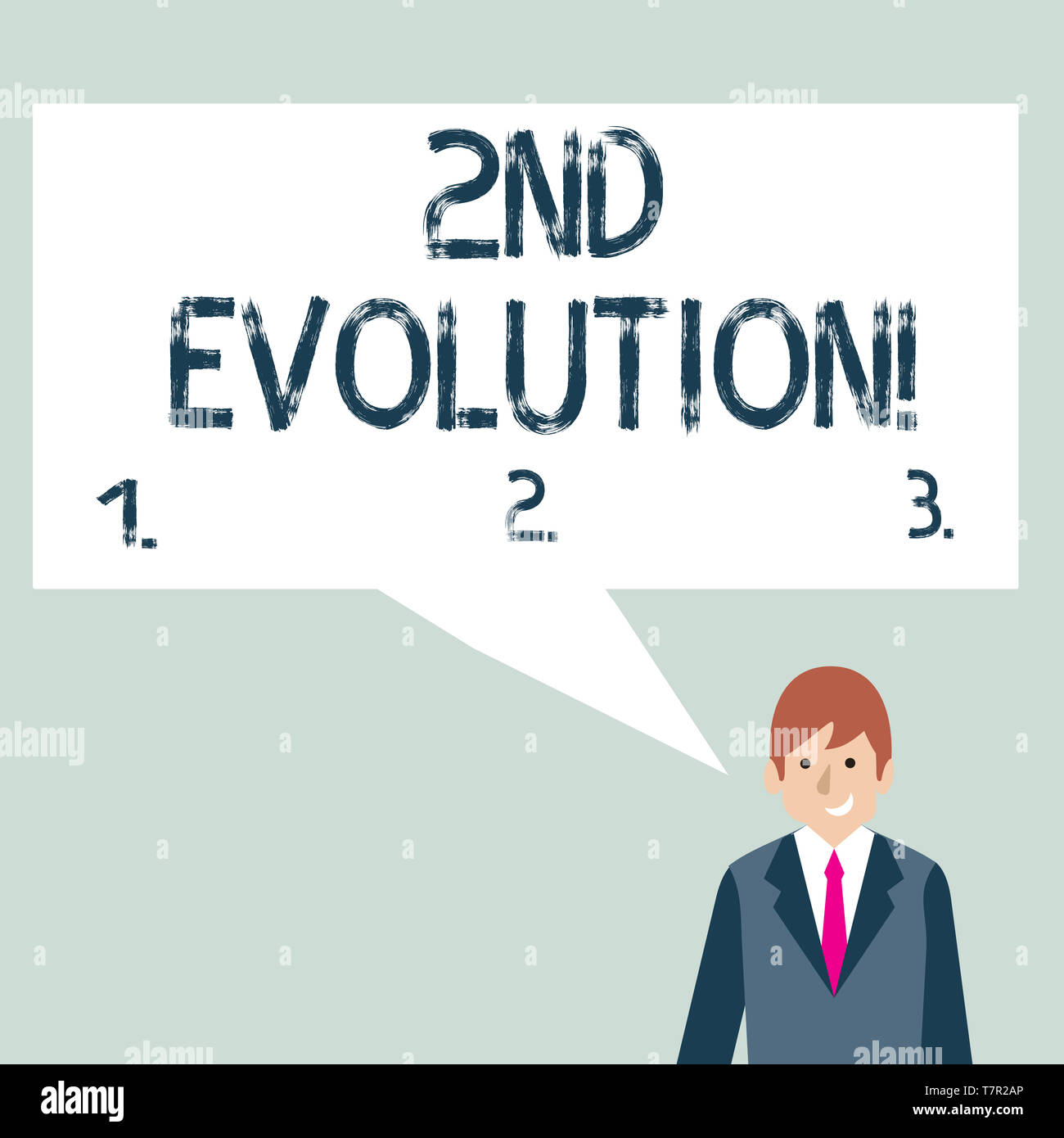 Writing note showing 2Nd Evolution. Business concept for change in the heritable features of biological populations Businessman Smiling and Talking Bl - Stock Image