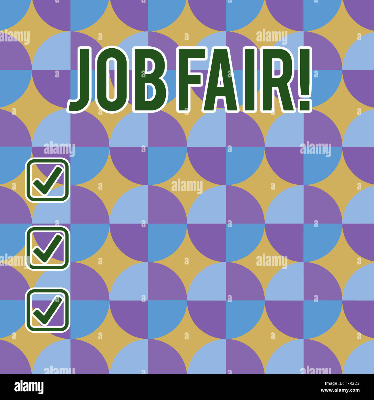 Conceptual hand writing showing Job Fair. Concept meaning event in which employers recruiters give information to employees Sunburst, Explosion and Da - Stock Image