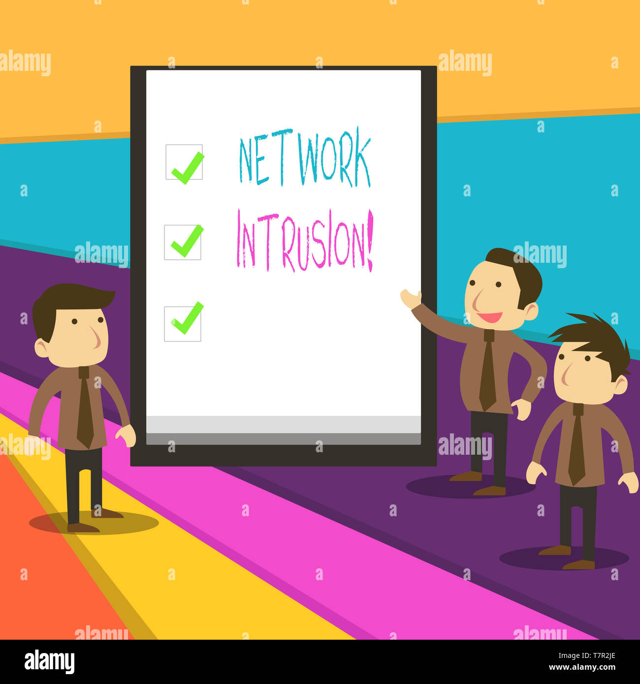 Word writing text Network Intrusion. Business photo showcasing device or software application that monitors a network - Stock Image