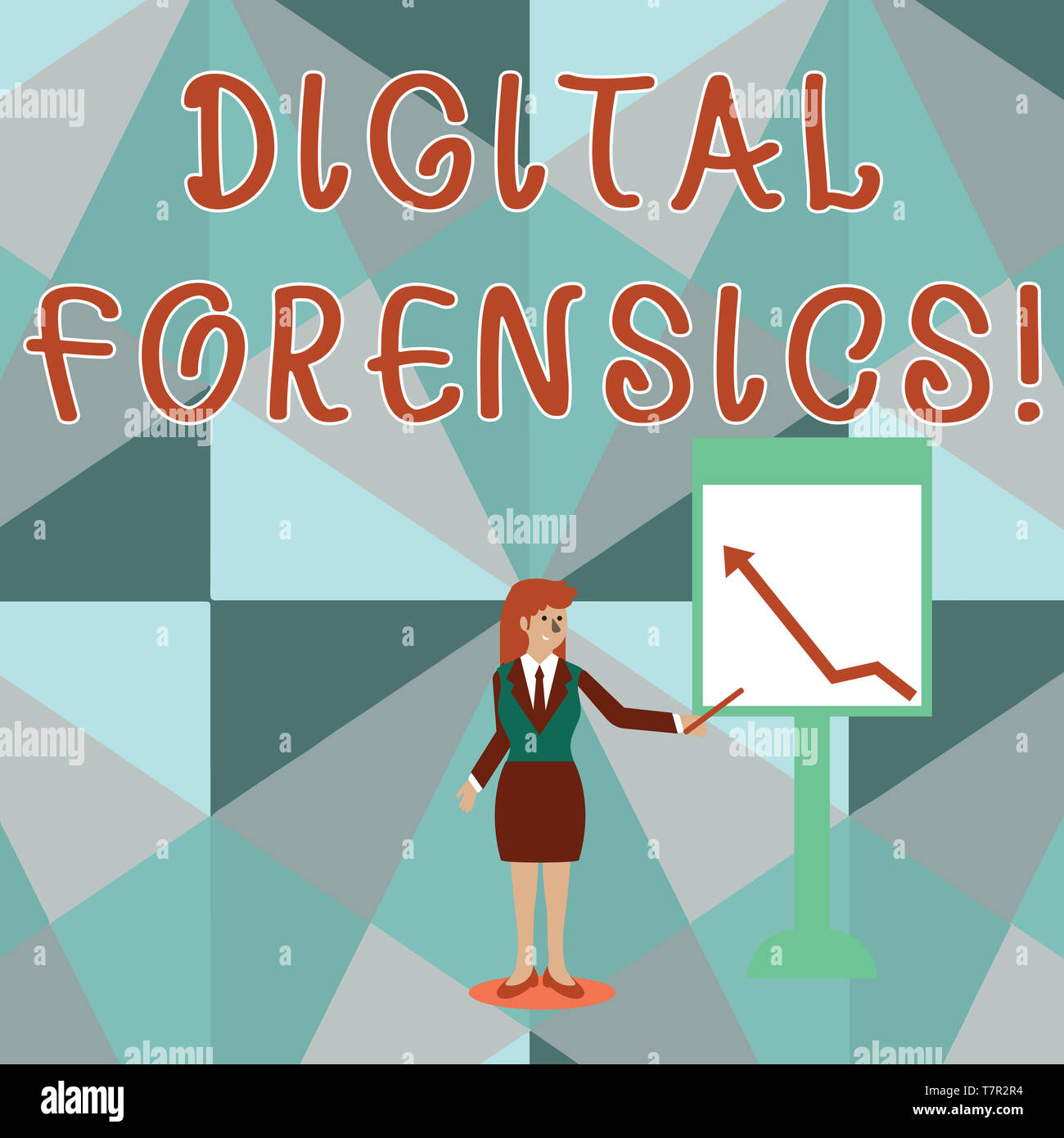 Conceptual hand writing showing Digital Forensics. Concept meaning investigation of material found in digital devices Woman Holding Stick Pointing to  - Stock Image