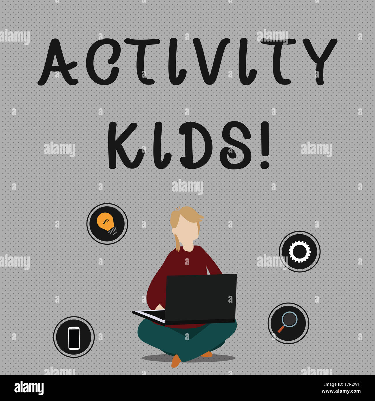 Conceptual hand writing showing Activity Kids. Concept meaning form of organized supervised often extracurricular recreation Woman Sitting with Crosse - Stock Image