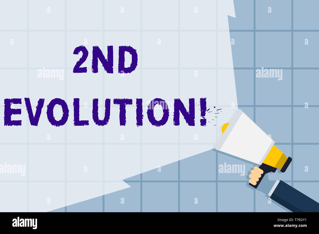 Conceptual hand writing showing 2Nd Evolution. Concept meaning change in the heritable features of biological populations Hand Holding Megaphone with  - Stock Image