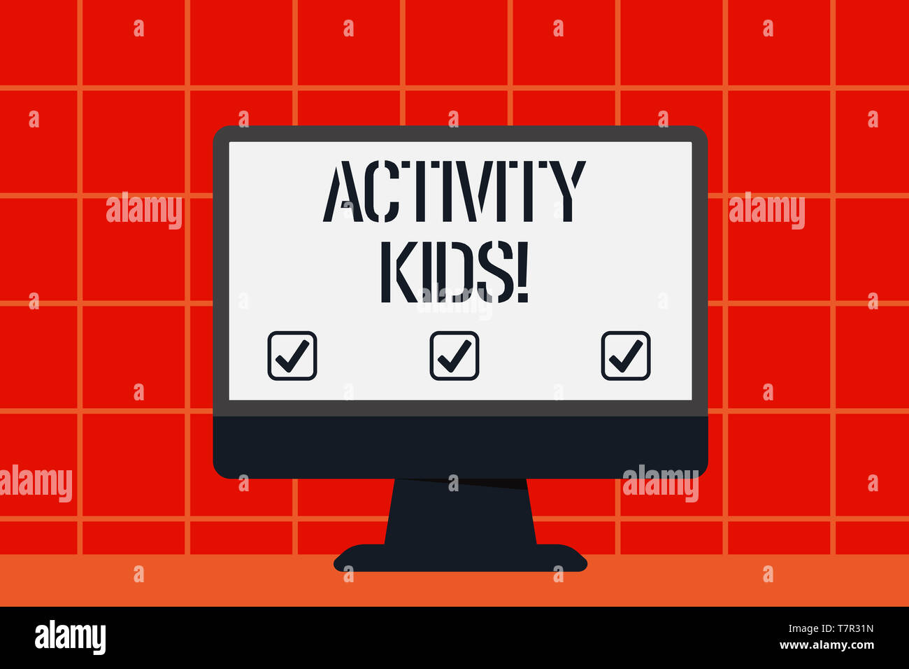 Conceptual hand writing showing Activity Kids. Concept meaning form of organized supervised often extracurricular recreation Blank Desktop Computer Co - Stock Image