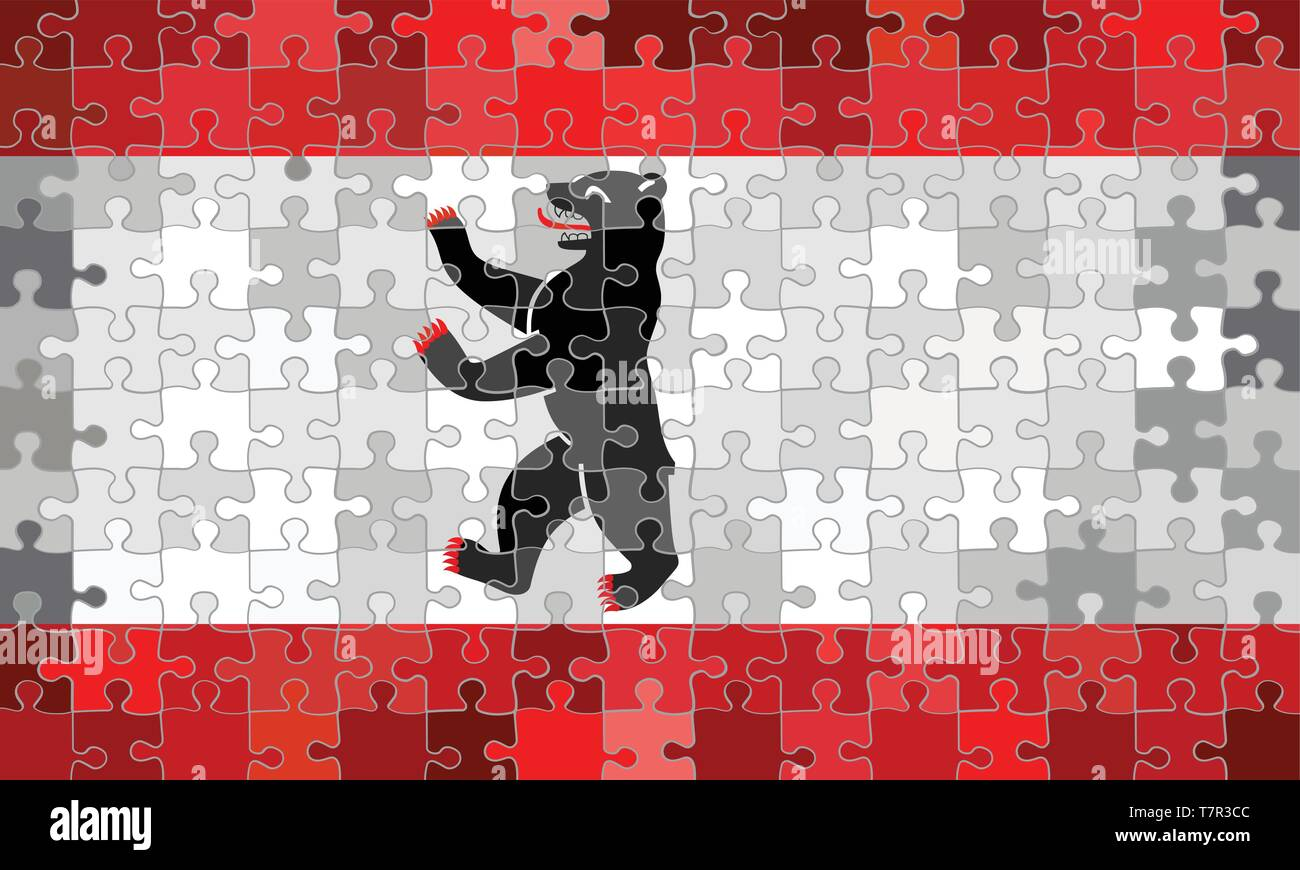 Berlin flag made of puzzle background - Illustration - Stock Vector