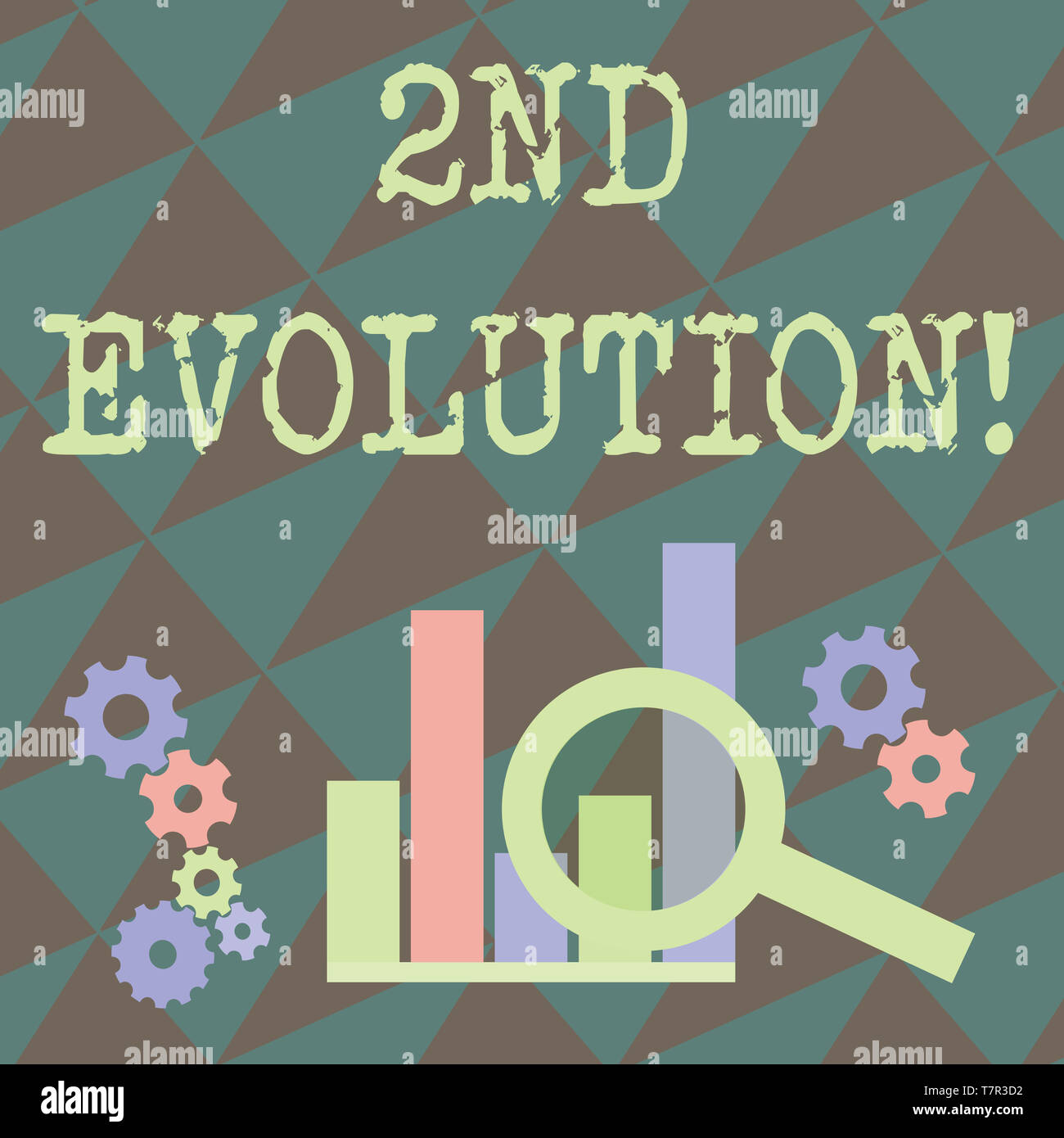 Writing note showing 2Nd Evolution. Business concept for change in the heritable features of biological populations Magnifying Glass On Chart beside C - Stock Image