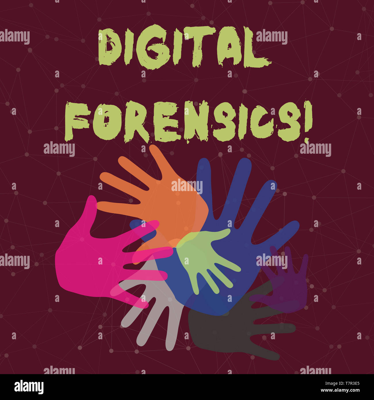 Handwriting text Digital Forensics. Conceptual photo investigation of material found in digital devices Color Hand Marks of Different Sizes Overlappin - Stock Image