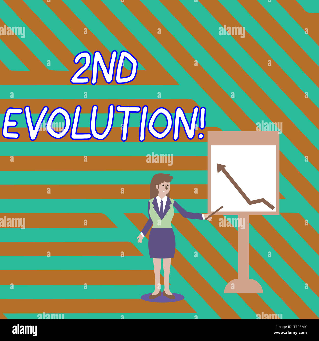 Word writing text 2Nd Evolution. Business photo showcasing change in the heritable features of biological populations Businesswoman Holding Stick Poin - Stock Image