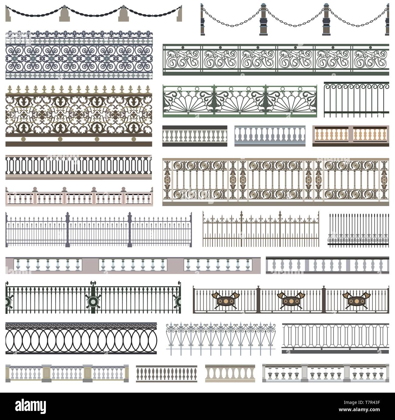 fence patterns and decorative design elements with seamless borders - Stock Vector
