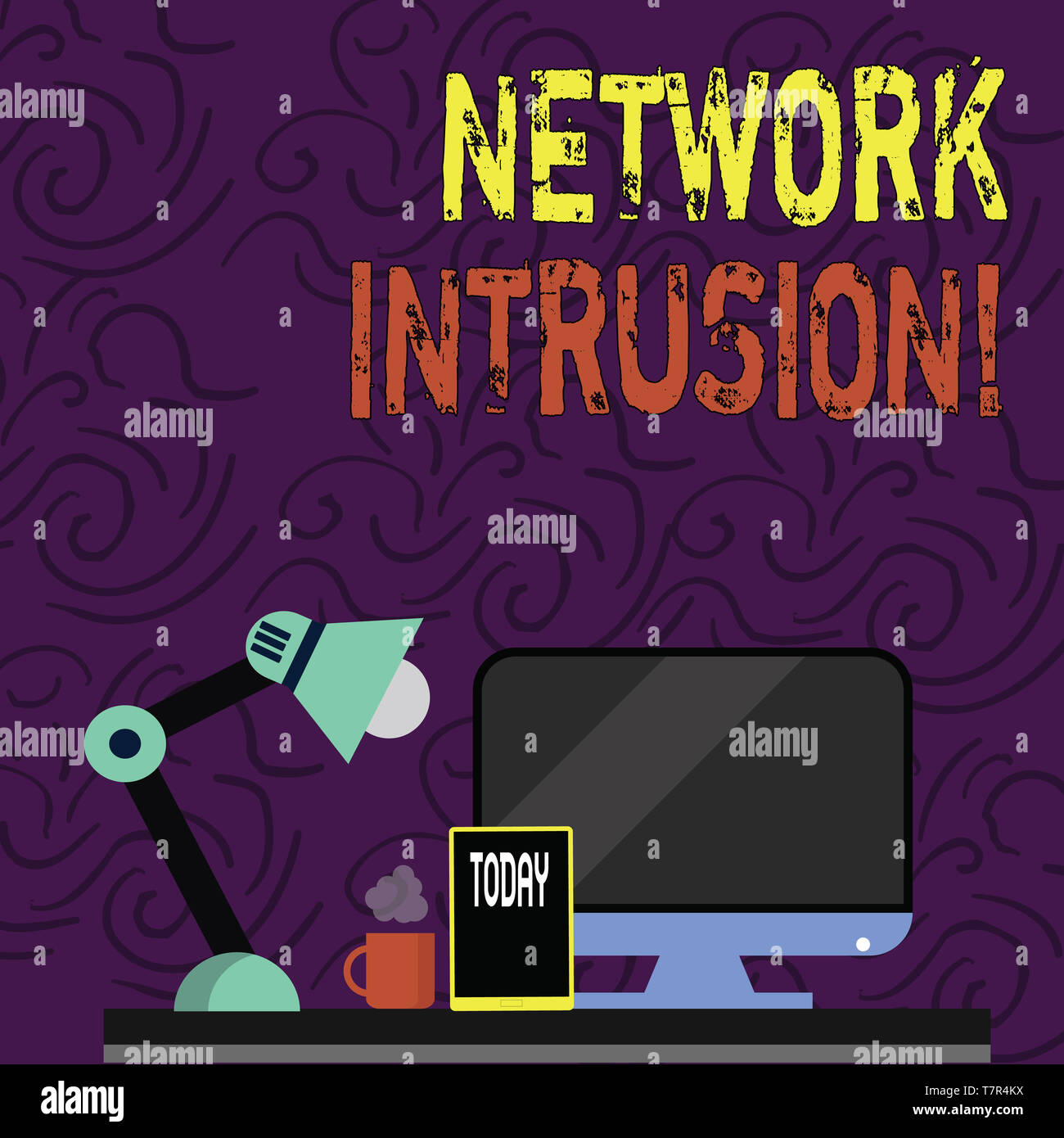 Text sign showing Network Intrusion. Business photo showcasing device or software application that monitors a network Arrangement of Workspace for Nig - Stock Image