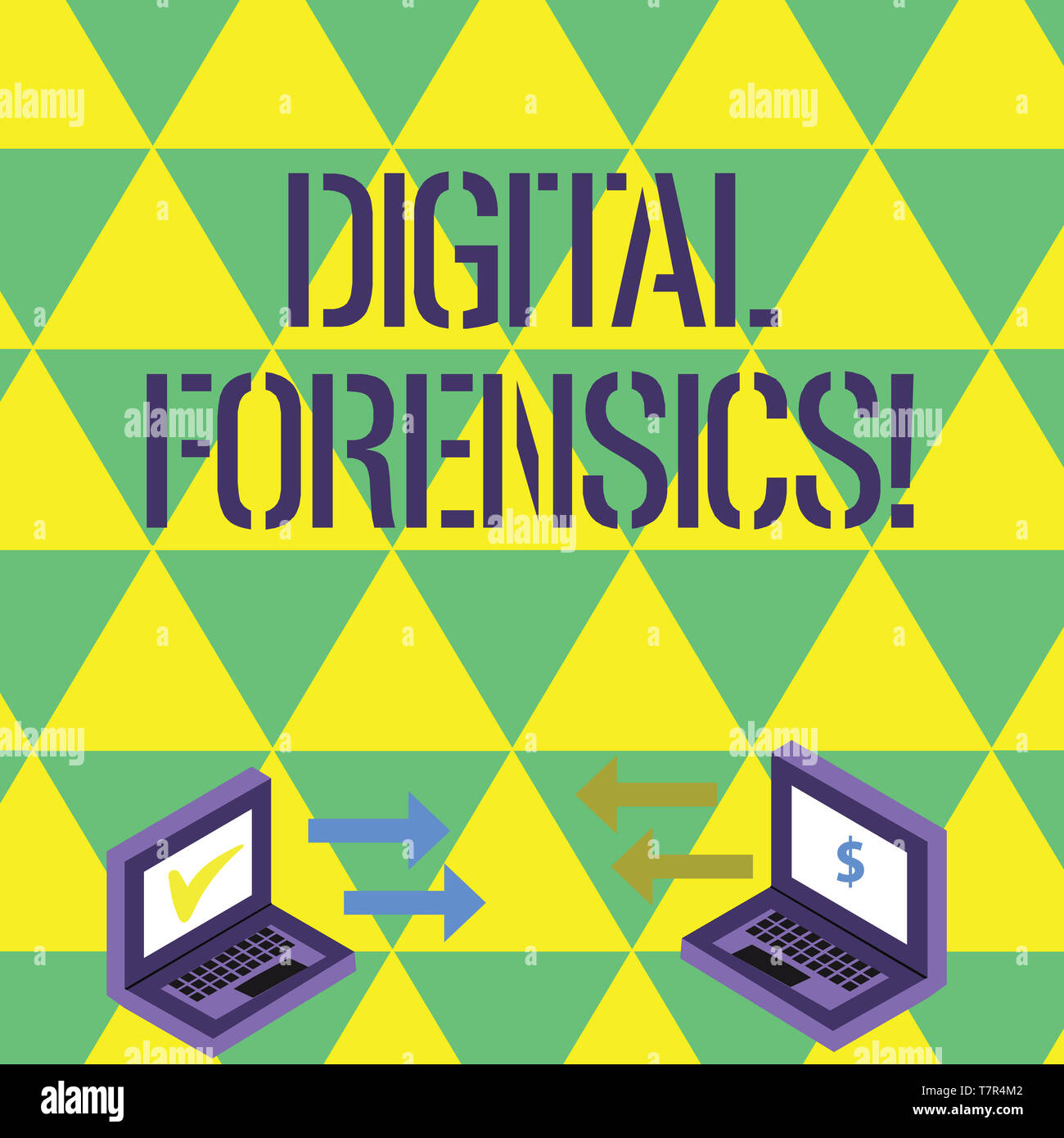 Handwriting text writing Digital Forensics. Conceptual photo investigation of material found in digital devices Exchange Arrow Icons Between Two Lapto - Stock Image