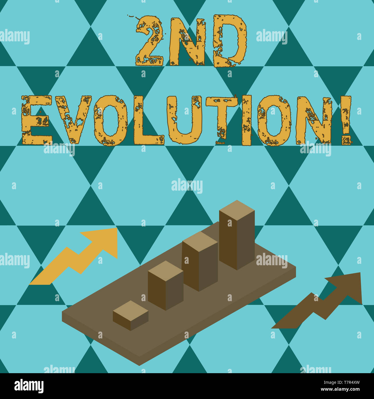 Text sign showing 2Nd Evolution. Business photo text change in the heritable features of biological populations Colorful Clustered 3D Bar Chart Graph  - Stock Image
