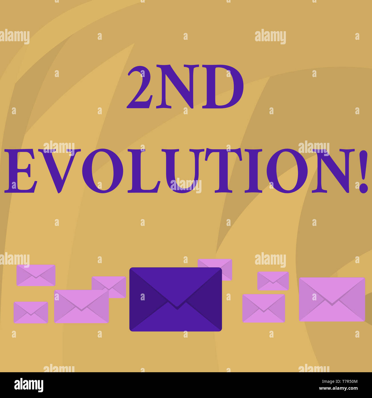 Word writing text 2Nd Evolution. Business photo showcasing change in the heritable features of biological populations Pastel Color Closed Envelopes in - Stock Image