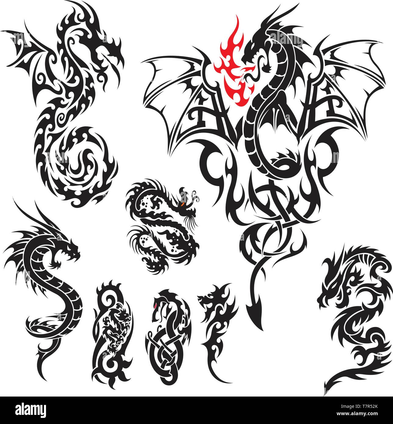 Dragon tattoos collection,easy to customize,bundle Stock Vector Art ...