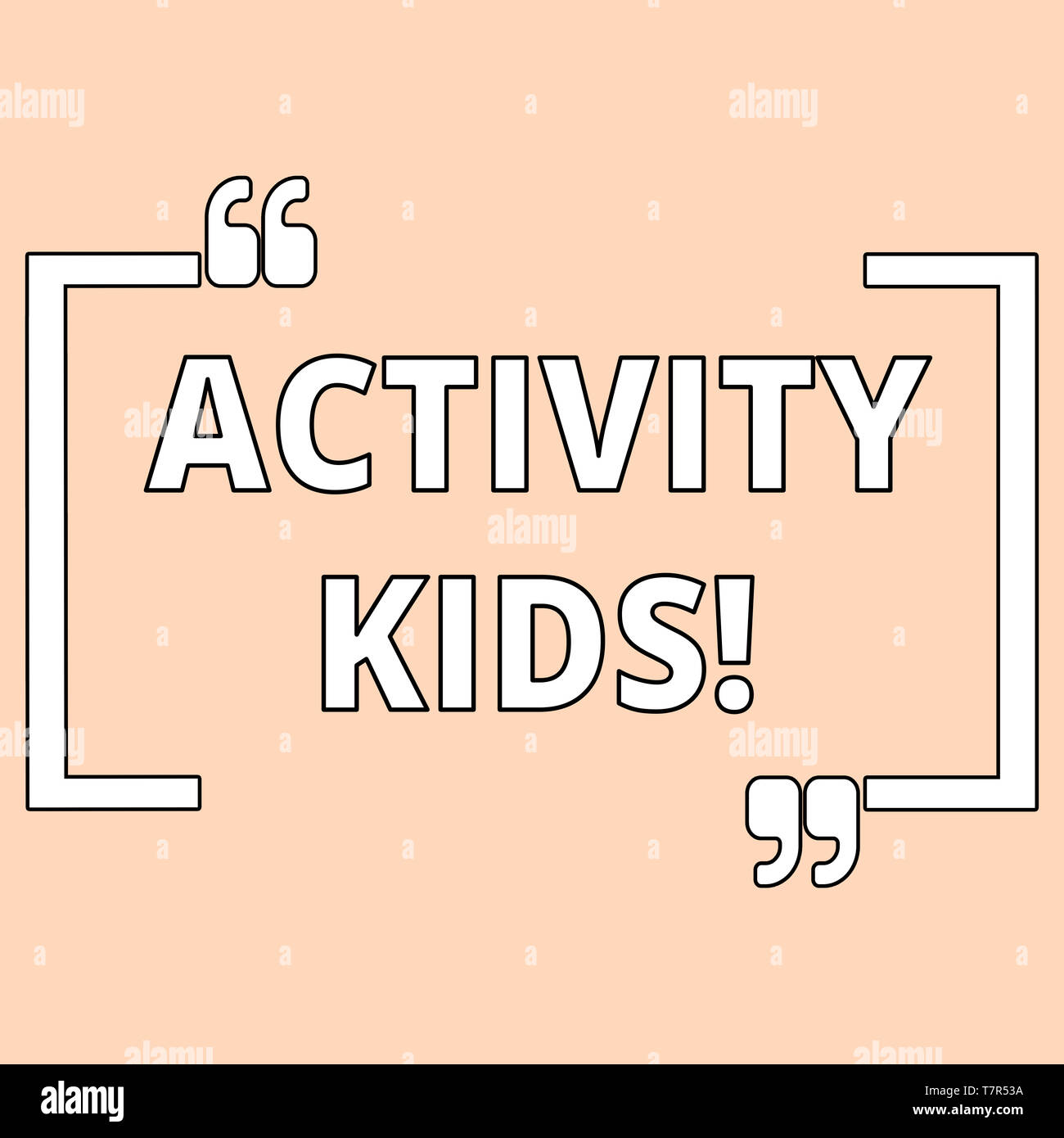 Writing note showing Activity Kids. Business concept for form of organized supervised often extracurricular recreation Shade of Pale Pink for Invitati - Stock Image