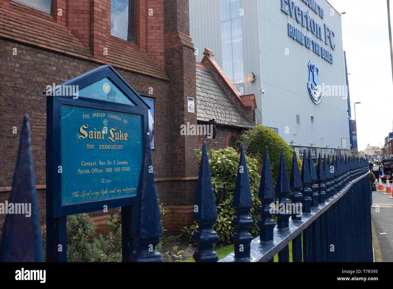 Everton, Liverpool, UK, April, 17, 2016: Saint Luke's church next to Everton Football Club, Goodison Park Stadium where the team first was founded back in 1878, nobody in the picture Stock Photo