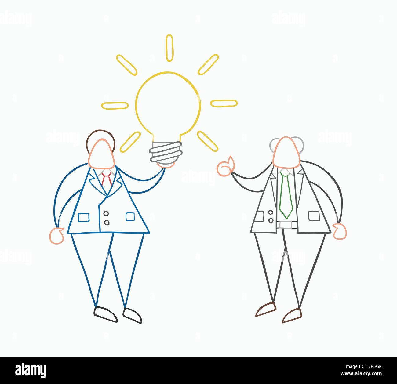 Hand-drawn vector illustration businessman worker holding glowing light-bulb, has a good idea and boss showing thumbs-up. White colored and colored ou - Stock Vector