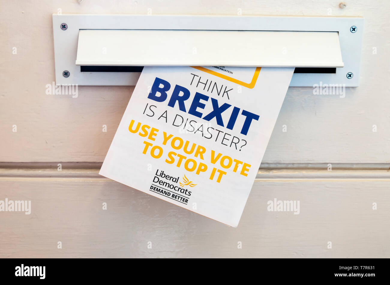 European election leaflet 2019 from Liberal Democrats suggests people use their vote to stop Brexit. Stock Photo