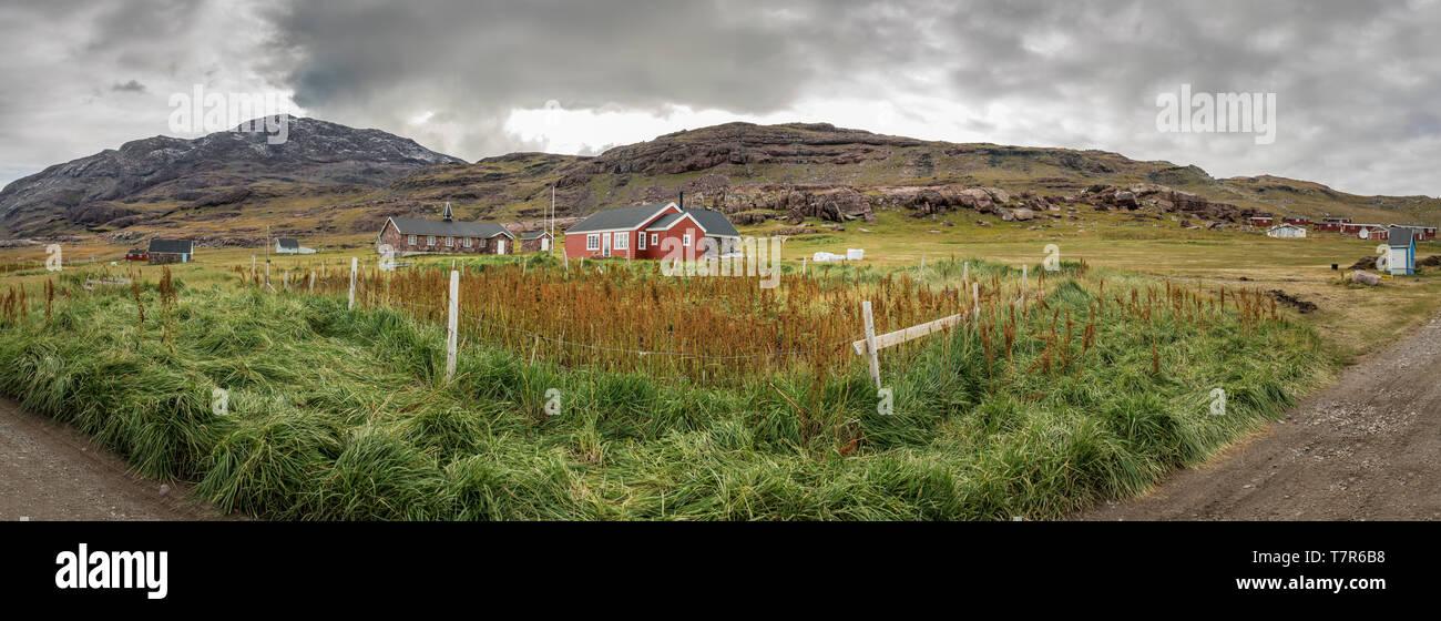 Farmland, Igaliku, Greenland Stock Photo