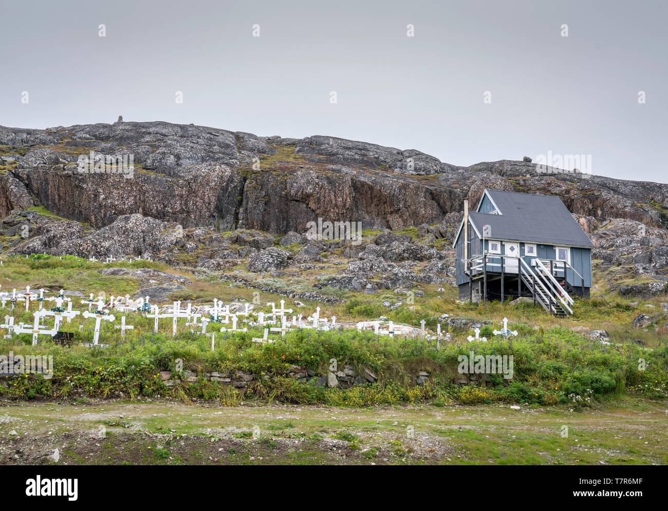 Graveyard, Qaqortoq, Greenland - Stock Image