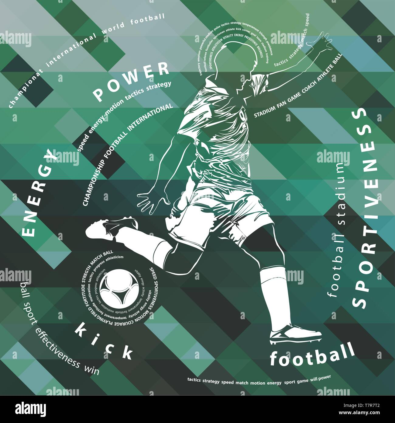 vector illustration of football(soccer) player on colorful background - Stock Vector
