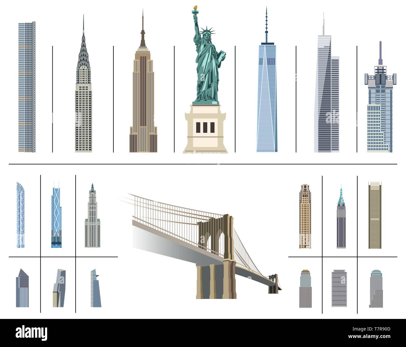 vector collection of New York city landmarks - Stock Vector