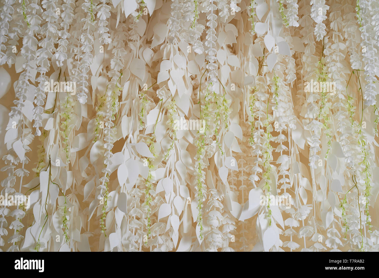 Flower garland on the wall as an element of festive, wedding decor. Light tone. - Stock Image