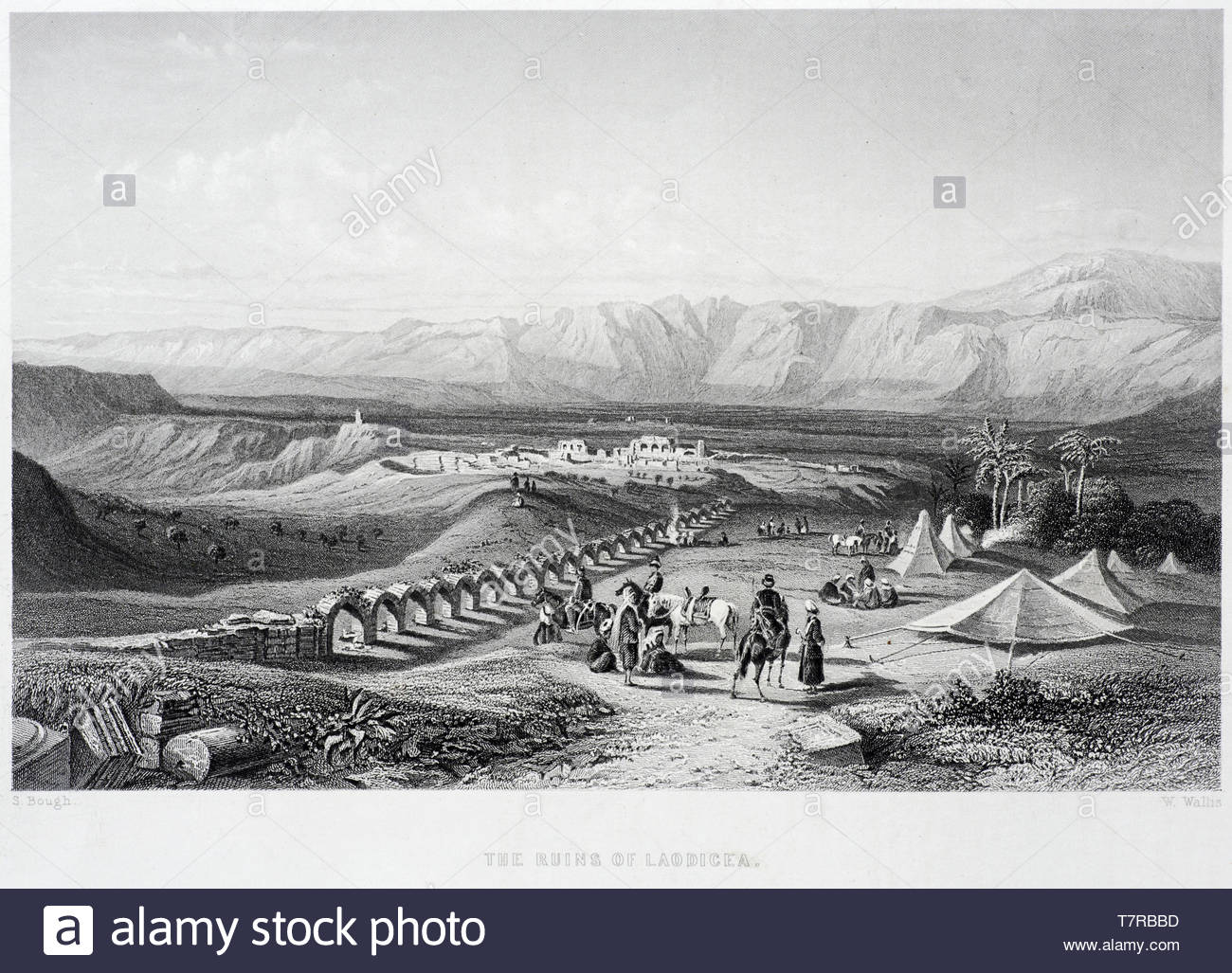 The Ruins of Laodicea in ancient Greece, now near the modern city of Denizli Turkey, antique engraving from 1800s - Stock Image