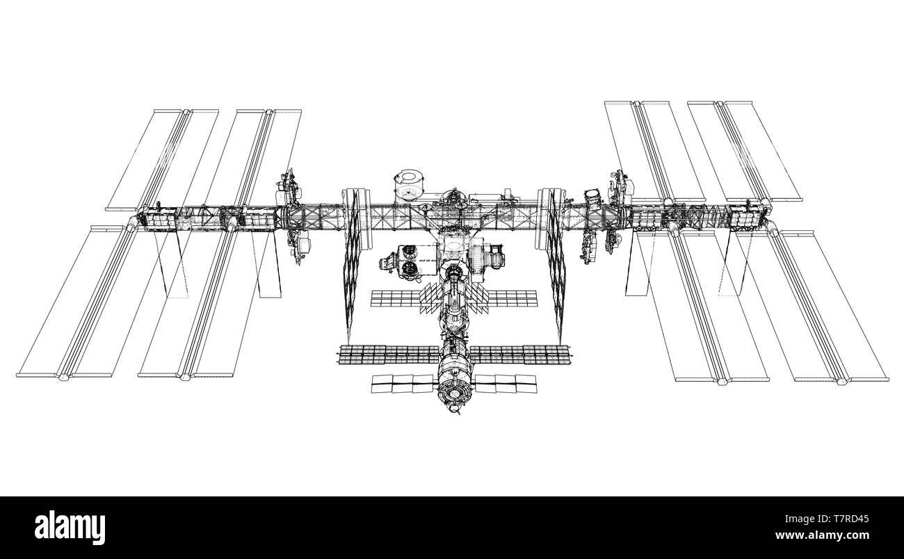 International Space Station Outline. Vector Stock Vector
