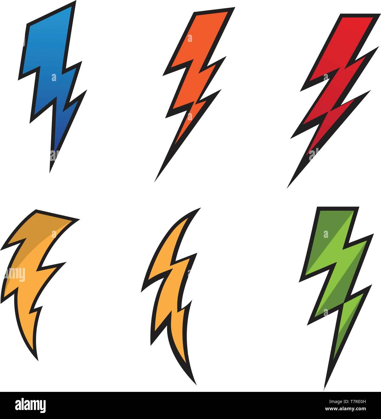 Lightning bolt flash thunderbolt icons vectors Stock Vector