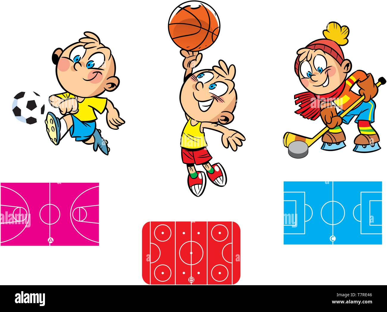 In vector illustration, a puzzle with which you need to find the right stadium for playing hockey, football and basketball - Stock Vector