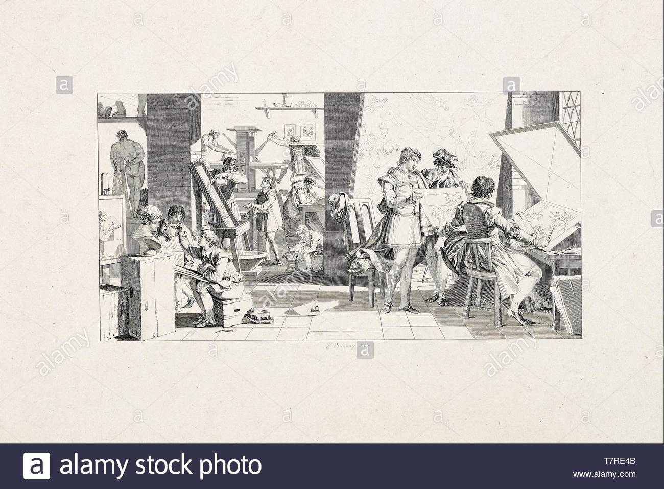 Pierre-Charles-Baquoy-Studio of a Printmaker - Stock Image