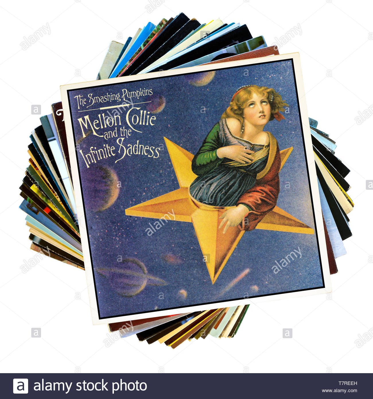 The Smashing Pumpkins, Mellon Collie and the Infinite Sadness stack of LP records, England - Stock Image