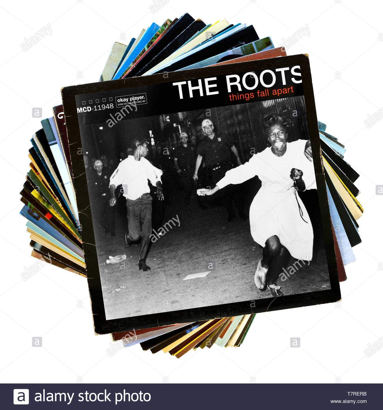 The Roots, Things Fall Apart album, stack of LP records, England - Stock Image