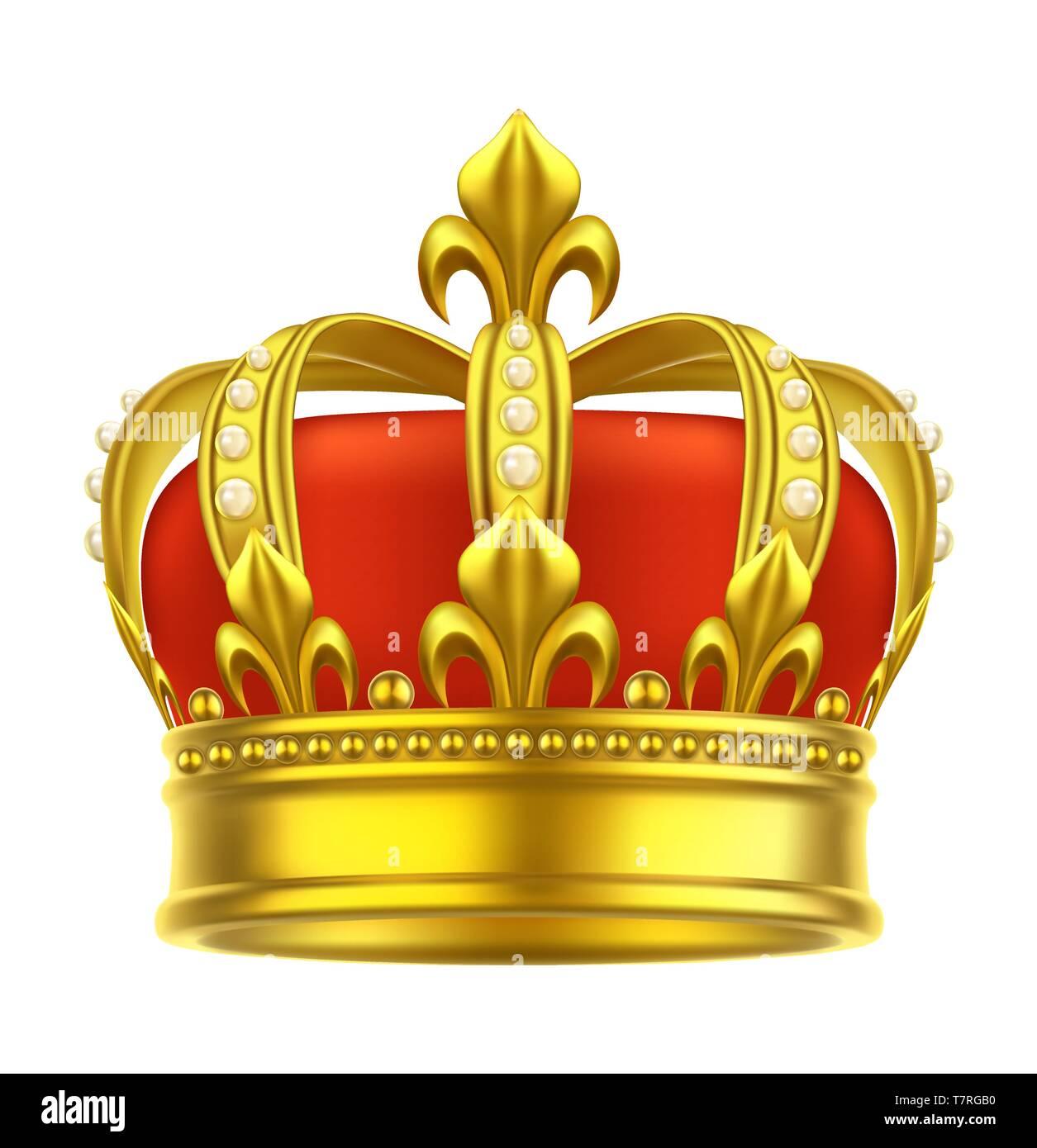 Heraldic crown icon. King, queen, game headdress - Stock Image