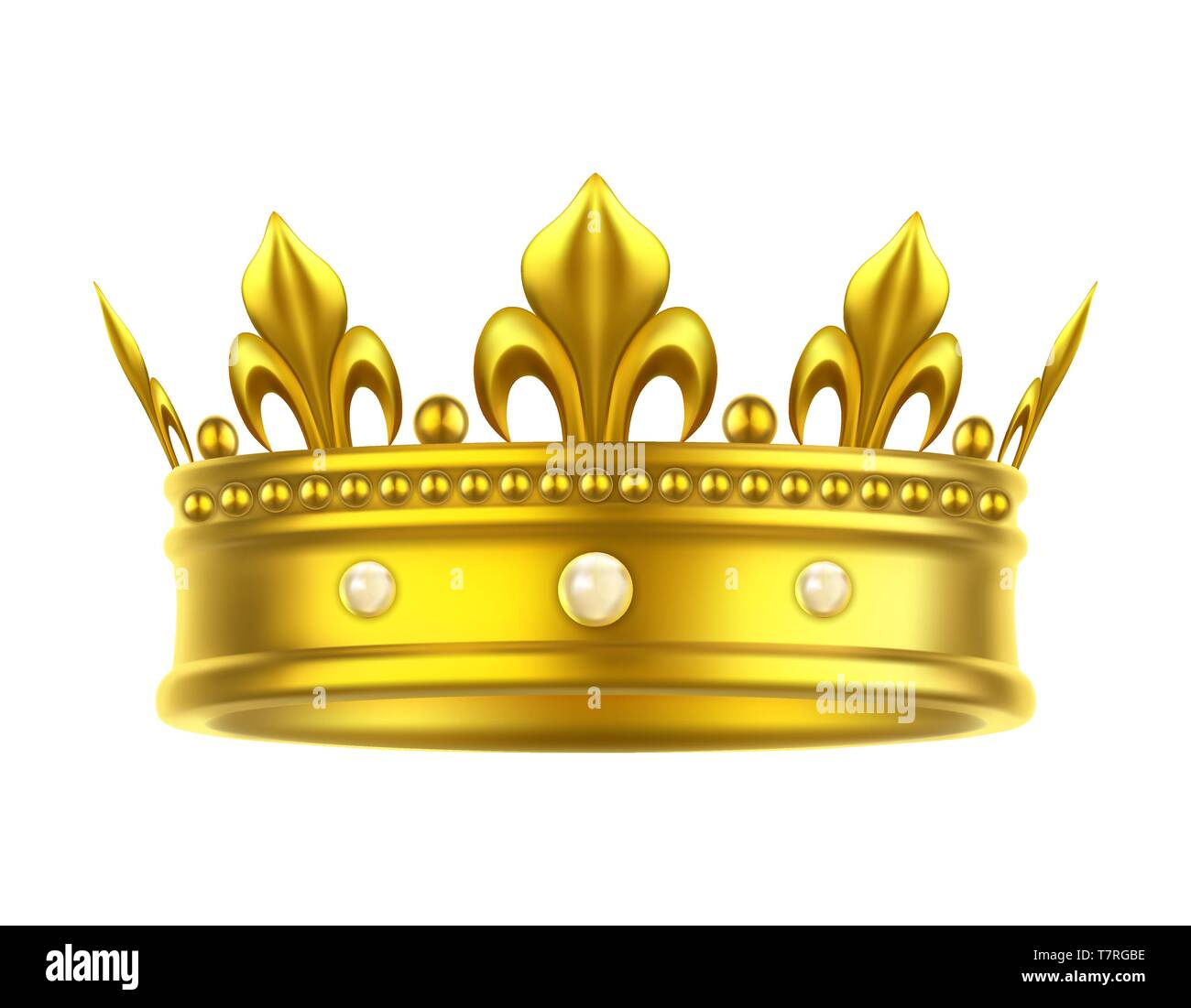 Golden isolated headdress or crown for king, queen - Stock Image