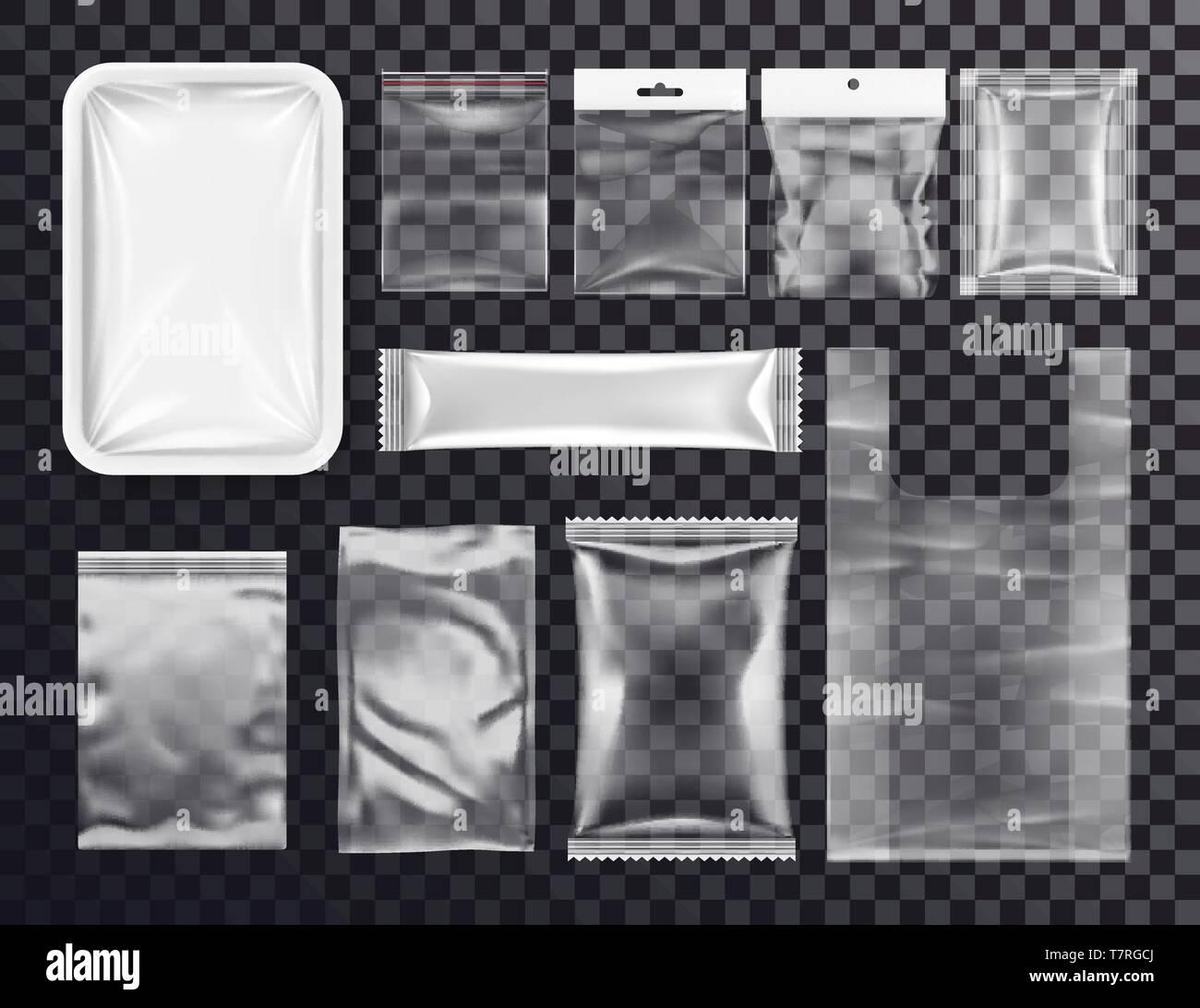 Realistic plastic pocket bag mockup, zipped bag - Stock Vector