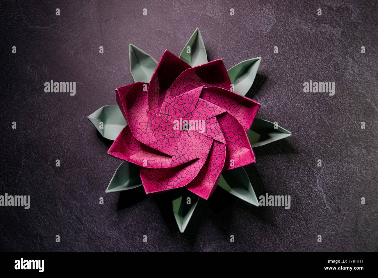 Pink Origami Lotus Flower Ars And Crafts Paper Art On Textured