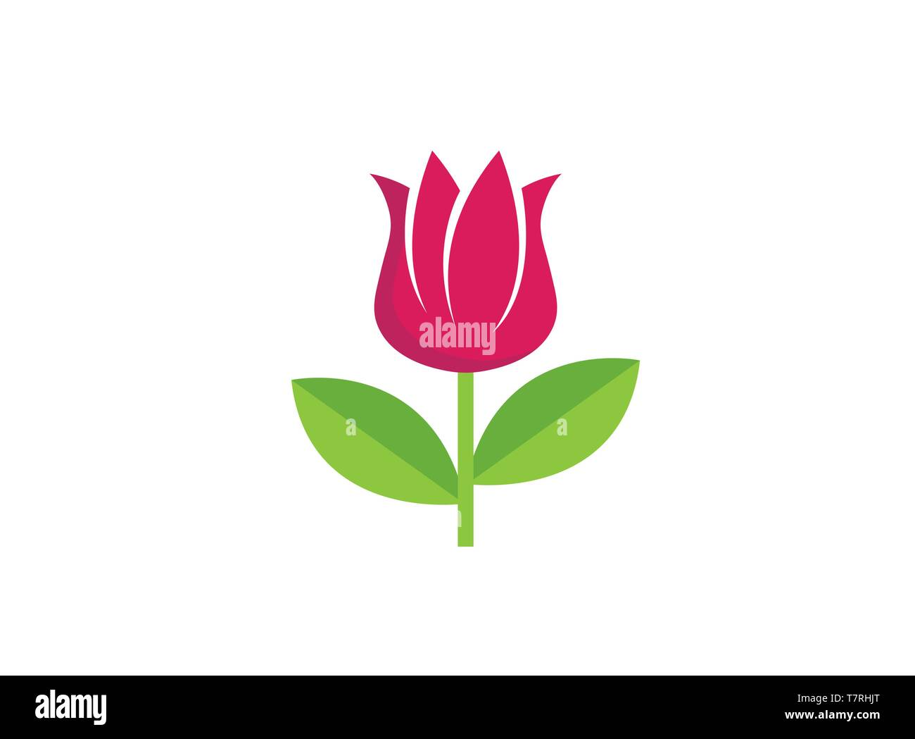 rose flower with leaves logo design - Stock Vector
