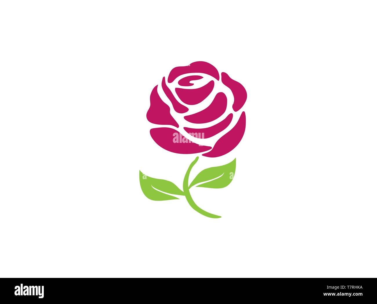 Rose with leaves and long leg flower for logo - Stock Vector