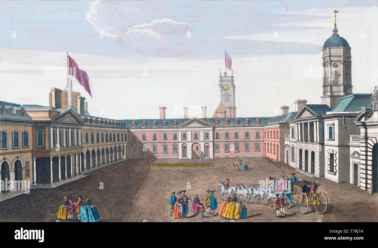 A prospect of the Upper Castle Court, from the Council Chamber, Dublin, Ireland.  From an engraving by Remigius Parr, dated c. 1750, after a work by Joseph Tudor.  Later colourization. - Stock Image