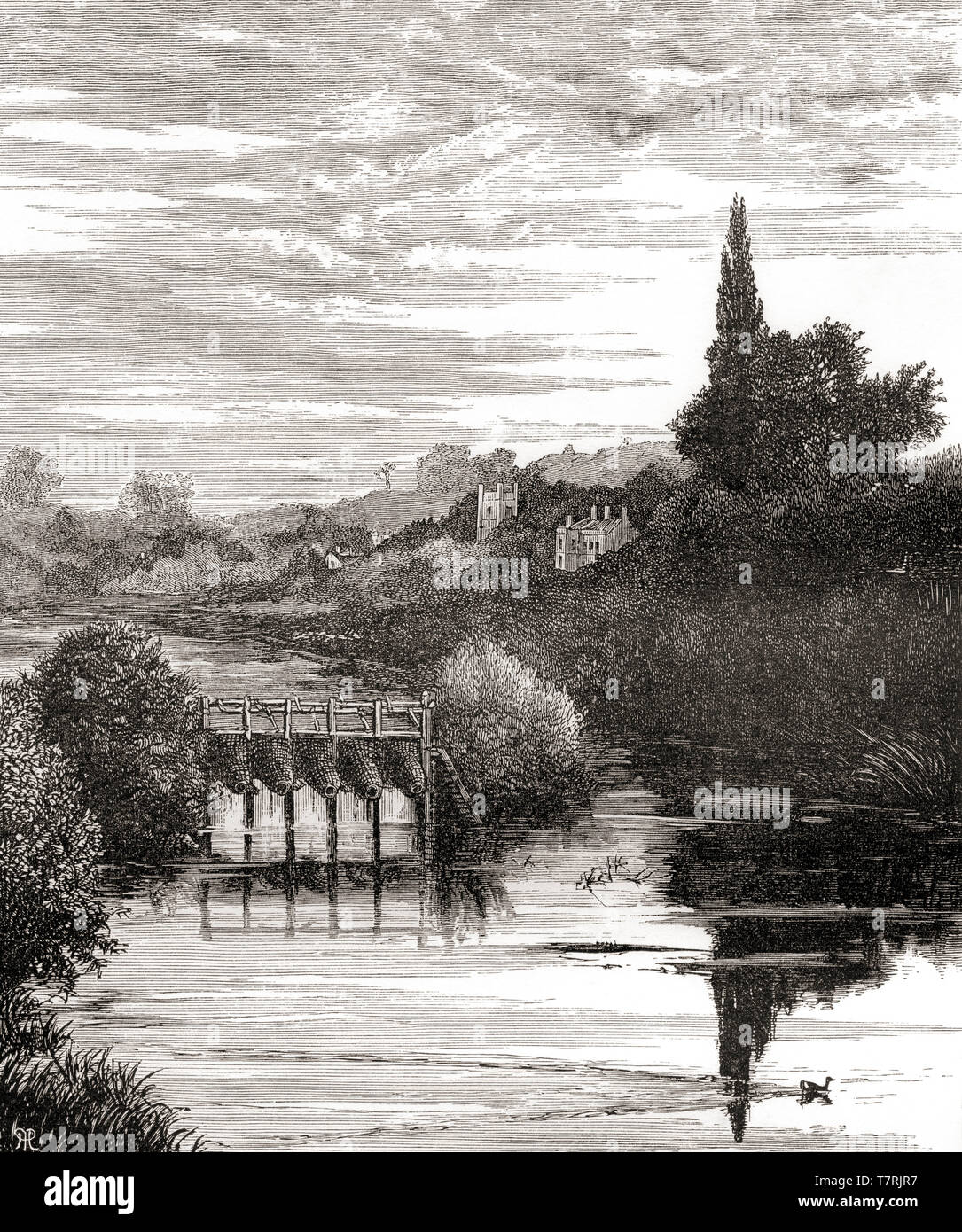 The River Thames at Caversham, Reading, England, seen here in the 19th century.  From English Pictures, published 1890. Stock Photo