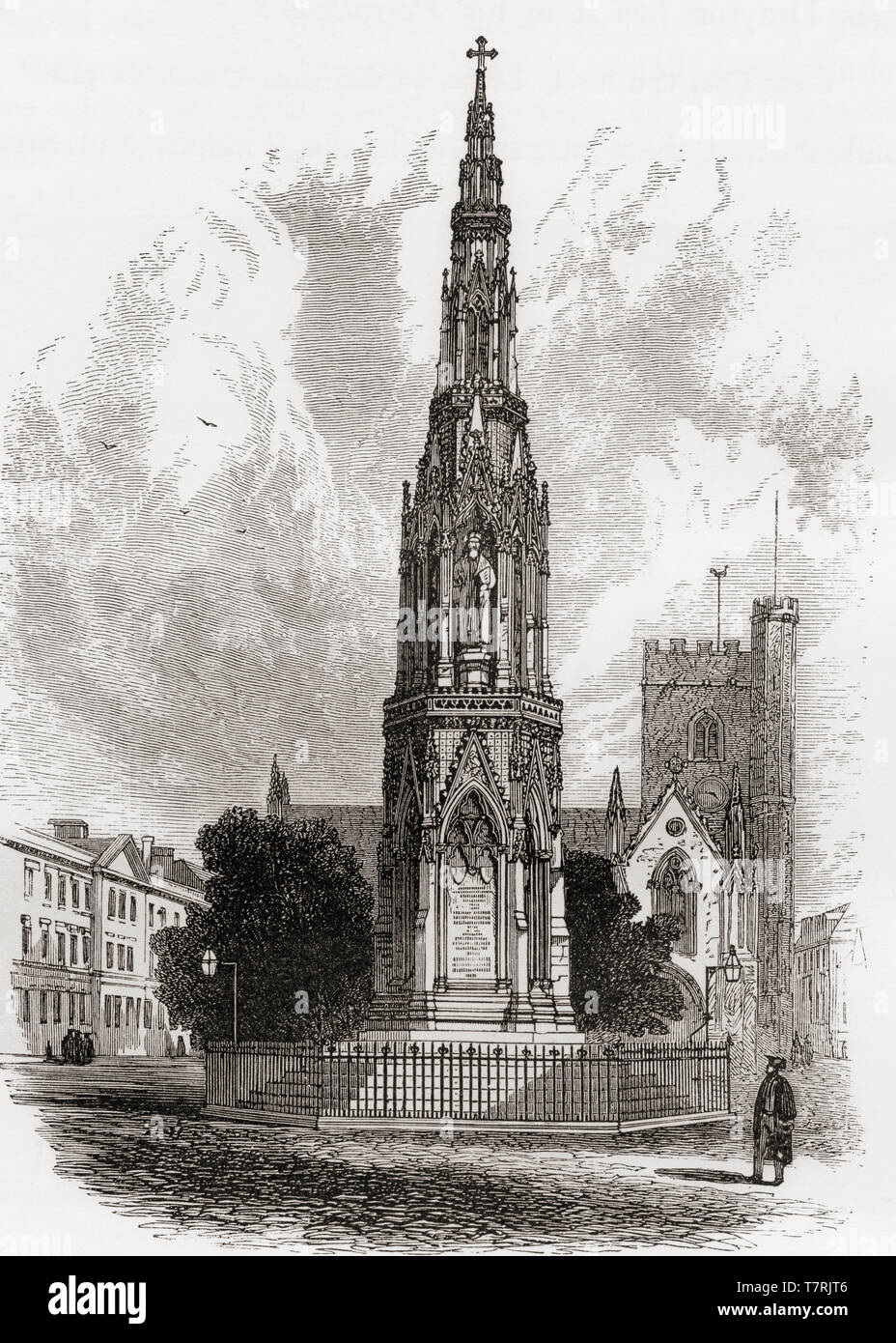 The Martyr's Memorial, Oxford, England, seen here in the 19th century. This stone monument commemorates the 16th century Oxford Martyrs.  From English Pictures, published 1890. - Stock Image