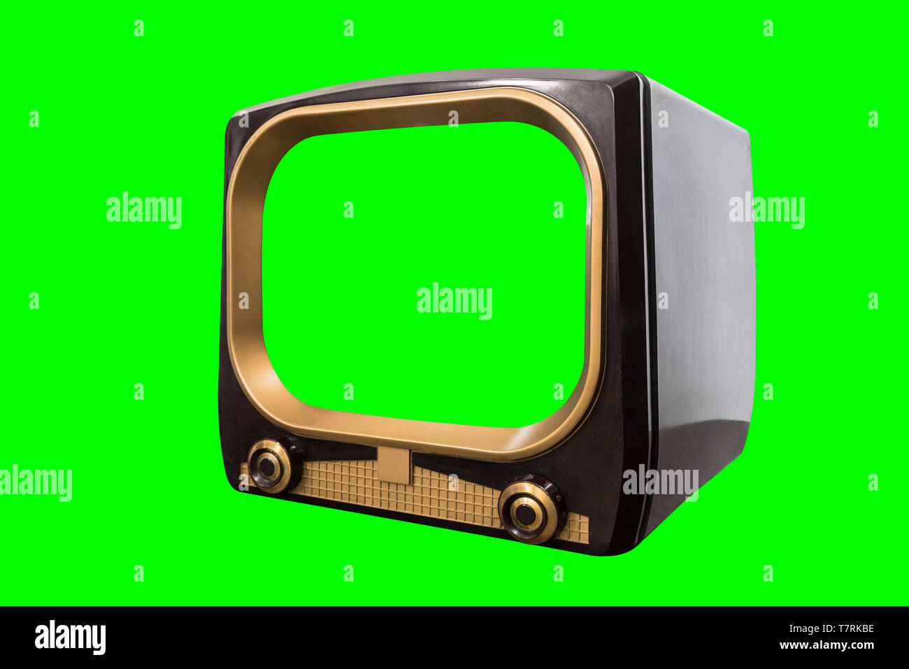 Vintage 1950s television isolated with chroma green screen and background. - Stock Image