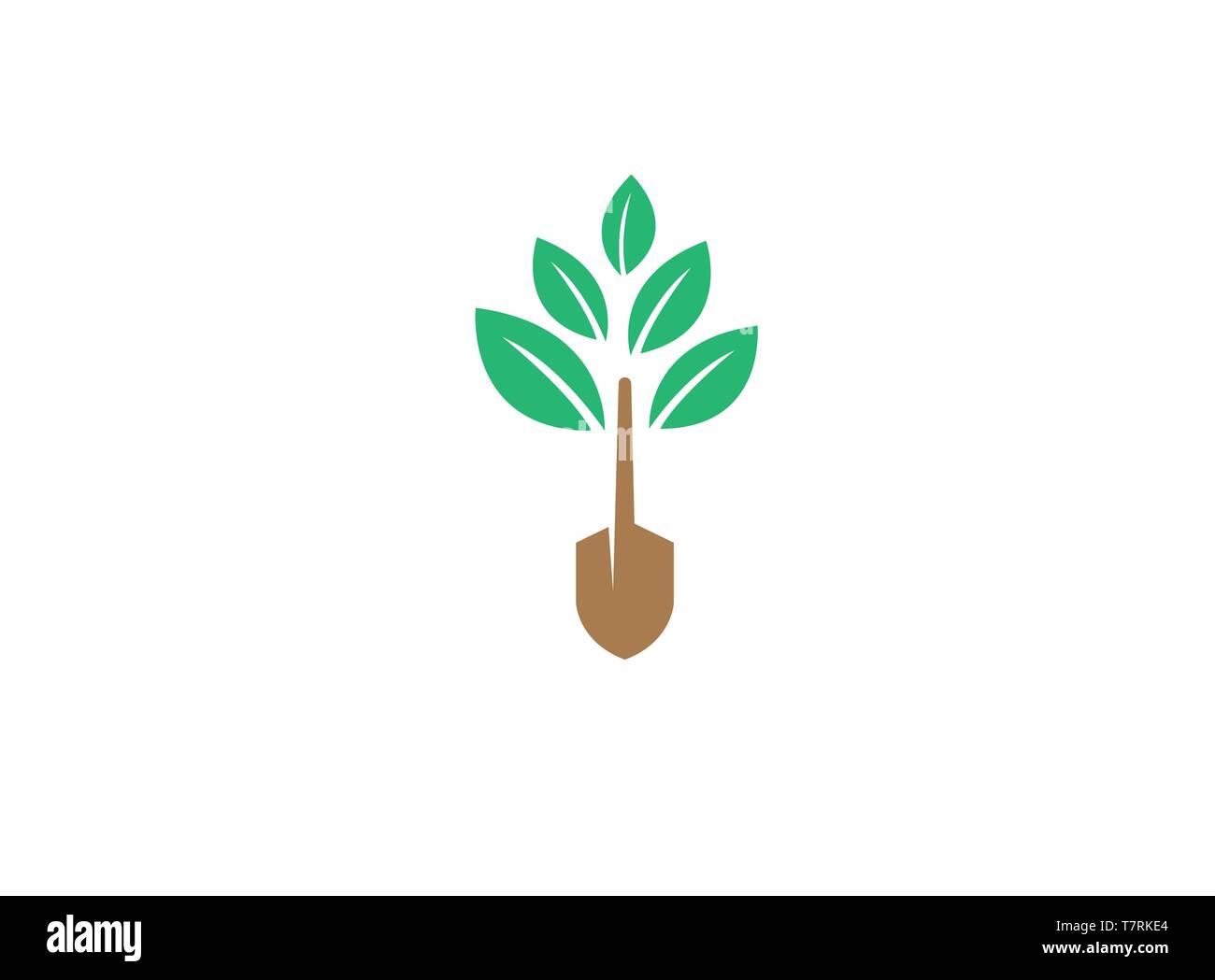 Farming Plants with tree trunk tool Logo - Stock Vector