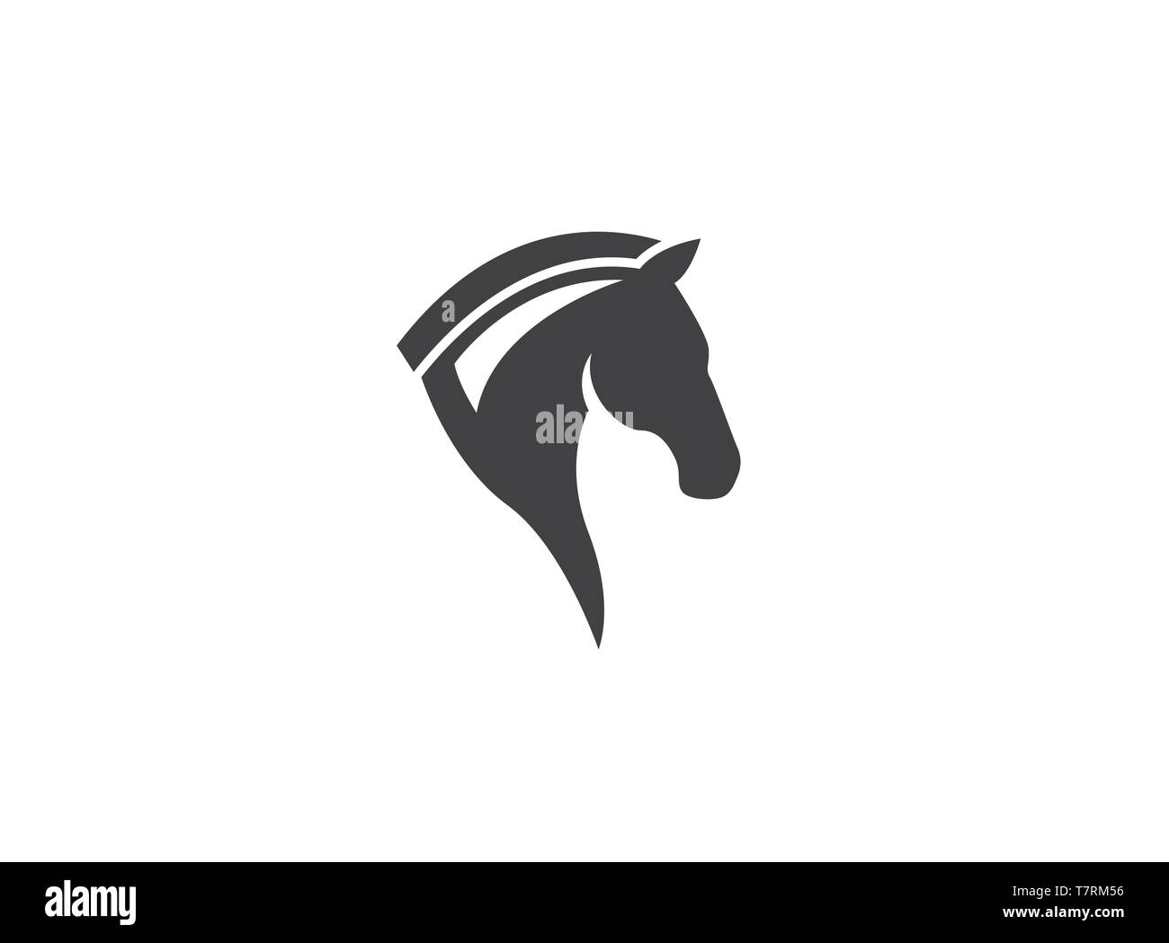 Horse head chess symbol for logo design - Stock Image