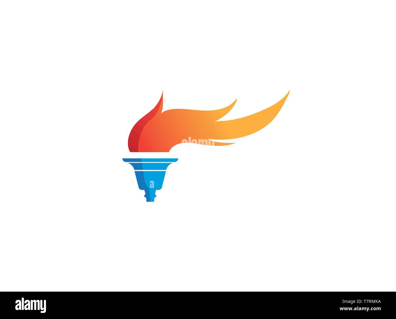 torch and flame symbol fire for logo Stock Vector