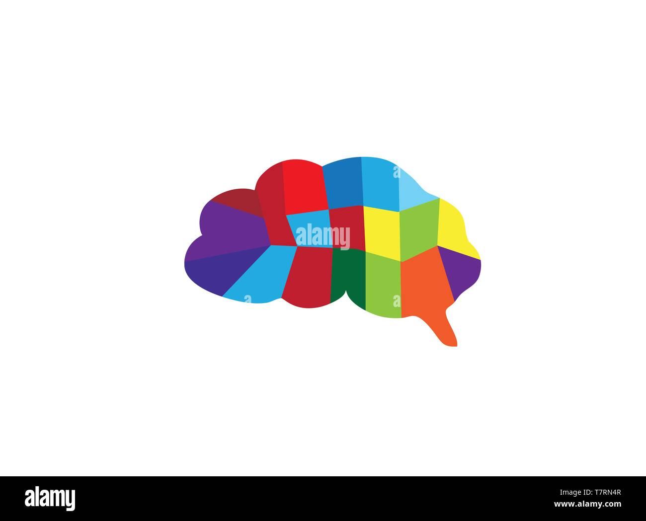 brain multi colors parts for logo design - Stock Image