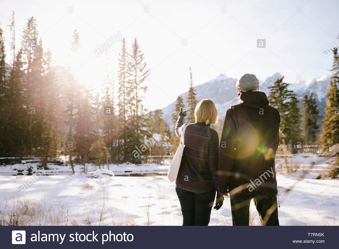 Senior couple looking at sunny, snowy mountain view - Stock Image