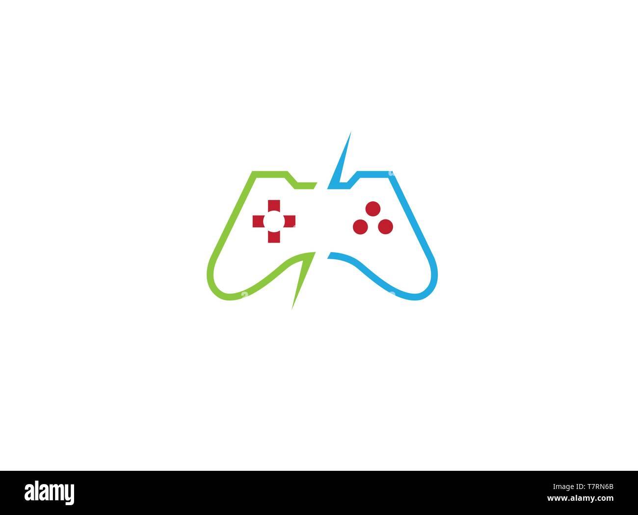 Console video games a controller gadget for logo - Stock Vector
