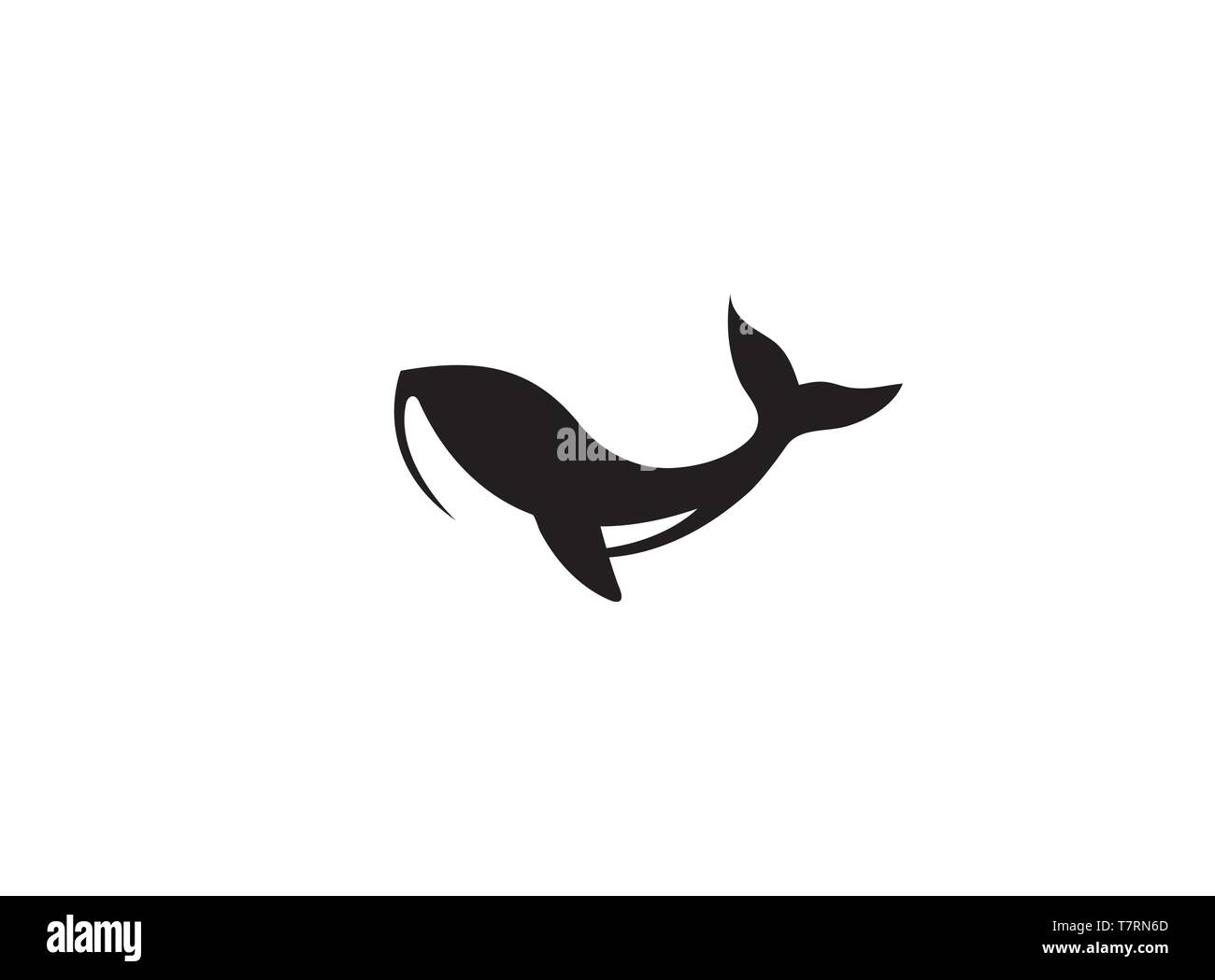 Humpback an ocean's giant whale for logo - Stock Image